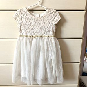 Girls Special Occasion White And Gold Dress